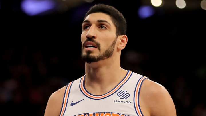 NEW YORK, NEW YORK - JANUARY 30:   Enes Kanter #00 of the New York Knicks looks on in the third quarter against the Dallas Mavericks at Madison Square Garden on January 30, 2019 in New York City.NOTE TO USER: User expressly acknowledges and agrees that, by downloading and or using this photograph, User is consenting to the terms and conditions of the Getty Images License Agreement.  (Photo by Elsa/Getty Images)