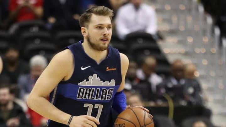 WASHINGTON, DC - MARCH 06: Luka Doncic #77 of the Dallas Mavericks in action against the Washington Wizards at Capital One Arena on March 06, 2019 in Washington, DC. NOTE TO USER: User expressly acknowledges and agrees that, by downloading and or using this photograph, User is consenting to the terms and conditions of the Getty Images License Agreement. (Photo by Patrick Smith/Getty Images)