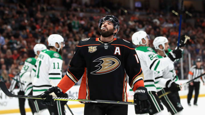 ANAHEIM, CA - DECEMBER 12:  Ryan Kesler #17 of the Anaheim Ducks  looks on after a goal scored by Miro Heiskanen #4 of the Dallas Stars during the second period of a game at Honda Center on December 12, 2018 in Anaheim, California.  (Photo by Sean M. Haffey/Getty Images)