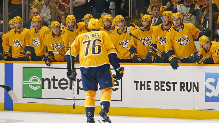 NASHVILLE, TENNESSEE - APRIL 10: P.K. Subban #76 of the Nashville Predators skates to his bench after scoring a goal against the Dallas Stars during the third period of a 3-2 Stars victory in Game One of the Western Conference First Round during the 2019 NHL Stanley Cup Playoffs at Bridgestone Arena on April 10, 2019 in Nashville, Tennessee. (Photo by Frederick Breedon/Getty Images)