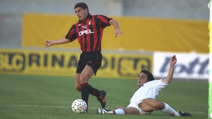 Daniele Massaro of AC Milan and Pellizzaro of Padova