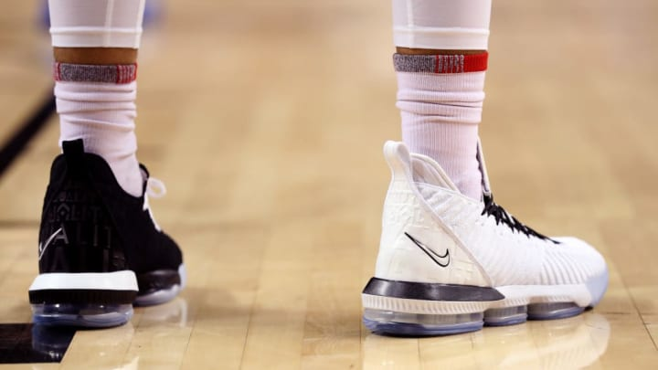 NEW YORK, NEW YORK - MARCH 15: A detail view of the Nike LeBron 16 basketball shoes worn by Obadiah Toppin #1 of the Dayton Flyers in the second half of the game against the Saint Louis Billikens during the quarterfinals of the 2019 Atlantic 10 men's basketball tournament at Barclays Center on March 15, 2019 in the Brooklyn borough of New York City. (Photo by Mike Lawrie/Getty Images)