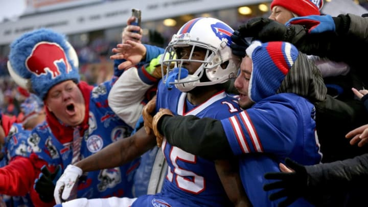 ORCHARD PARK, NEW YORK - NOVEMBER 24: John Brown #15 of the Buffalo Bills celebrates with fans after scoring a touchdown during the fourth quarter of an NFL game against the Denver Broncos at New Era Field on November 24, 2019 in Orchard Park, New York. Buffalo Bills defeated the Denver Broncos 20-3. (Photo by Bryan M. Bennett/Getty Images)