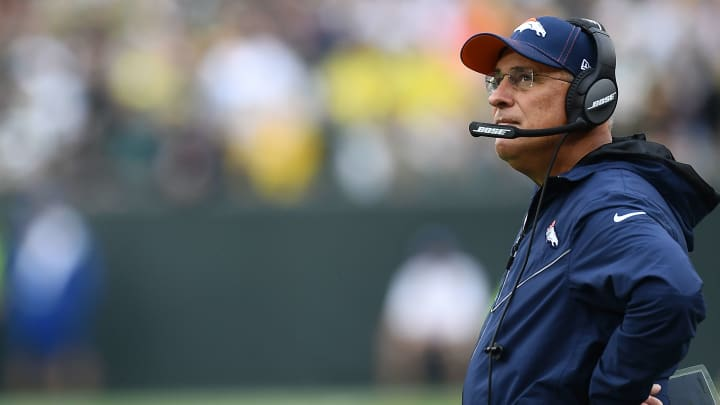 GREEN BAY, WISCONSIN - SEPTEMBER 22:  Head coach Vic Fangio of the Denver Broncos watches action during the second half of a game against the Green Bay Packers at Lambeau Field on September 22, 2019 in Green Bay, Wisconsin. (Photo by Stacy Revere/Getty Images)