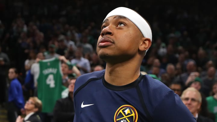 BOSTON, MASSACHUSETTS - MARCH 18: Isaiah Thomas #0 of the Denver Nuggets watches a tribute video in his honor during the first quarter of the game against the Boston Celtics at TD Garden on March 18, 2019 in Boston, Massachusetts. NOTE TO USER: User expressly acknowledges and agrees that, by downloading and or using this photograph, User is consenting to the terms and conditions of the Getty Images License Agreement. (Photo by Maddie Meyer/Getty Images)