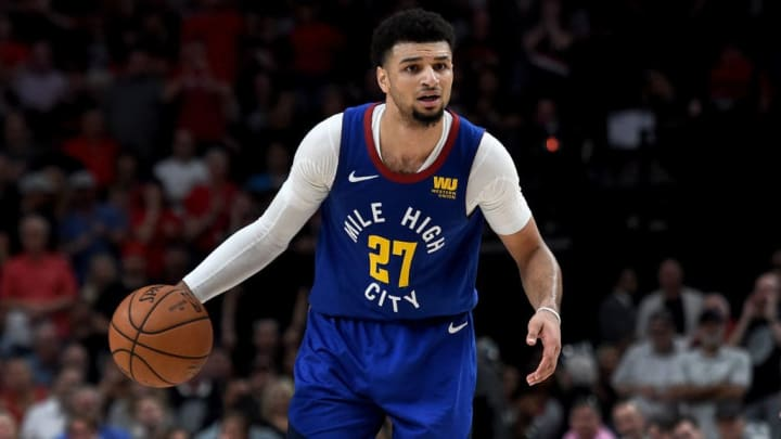 PORTLAND, OREGON - MAY 09: Jamal Murray #27 of the Denver Nuggets looks to drive to the basket during the second half of Game Six of the Western Conference Semifinals against the Portland Trail Blazers at Moda Center on May 09, 2019 in Portland, Oregon. The Blazers won 119-108. NOTE TO USER: User expressly acknowledges and agrees that, by downloading and or using this photograph, User is consenting to the terms and conditions of the Getty Images License Agreement. (Photo by Steve Dykes/Getty Images)