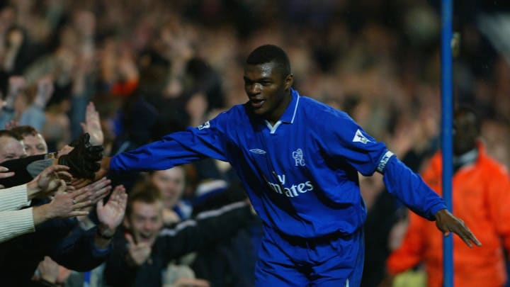 Desailly celebrates scoring the second