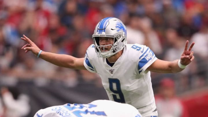 GLENDALE, ARIZONA - SEPTEMBER 08:  Quarterback Matthew Stafford #9 of the Detroit Lions prepares to snap the football during the first half of the NFL game against the Arizona Cardinals at State Farm Stadium on September 08, 2019 in Glendale, Arizona.  The Lions and Cardinals tied 27-27.  (Photo by Christian Petersen/Getty Images)
