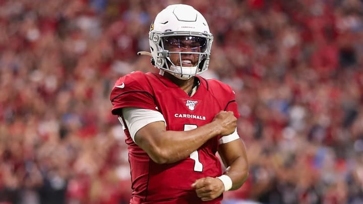 GLENDALE, ARIZONA - SEPTEMBER 08:  Quarterback Kyler Murray #1 of the Arizona Cardinals celebrates after converting a two-point conversion against the Detroit Lions during the final moments of the second half of the NFL game at State Farm Stadium on September 08, 2019 in Glendale, Arizona. The Lions and Cardinals tied 27-27. (Photo by Christian Petersen/Getty Images)