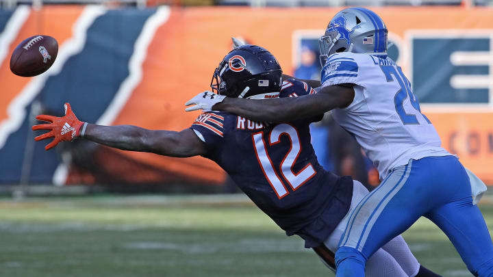 CHICAGO, IL - NOVEMBER 11:   Nevin Lawson #24 of the Detroit Lions interfers with Allen Robinson #12 of the Chicago Bears at Soldier Field on November 11, 2018 in Chicago, Illinois. The Bears defeated the Lions 34-22. (Photo by Jonathan Daniel/Getty Images)