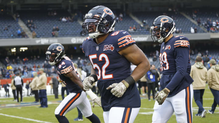 CHICAGO, ILLINOIS - NOVEMBER 10: Khalil Mack #52 of the Chicago Bears warms up prior to a game against the Detroit Lions  at Soldier Field on November 10, 2019 in Chicago, Illinois. (Photo by Nuccio DiNuzzo/Getty Images)
