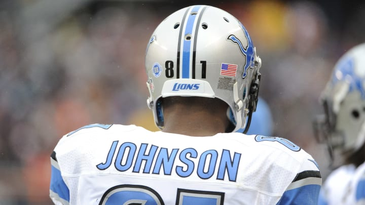 CHICAGO, IL- JANUARY 03: Calvin Johnson #81 of the Detroit Lions during the third quarter of a game against the Chicago Bears on January 3, 2016 at Soldier Field in Chicago, Illinois.  (Photo by David Banks/Getty Images)