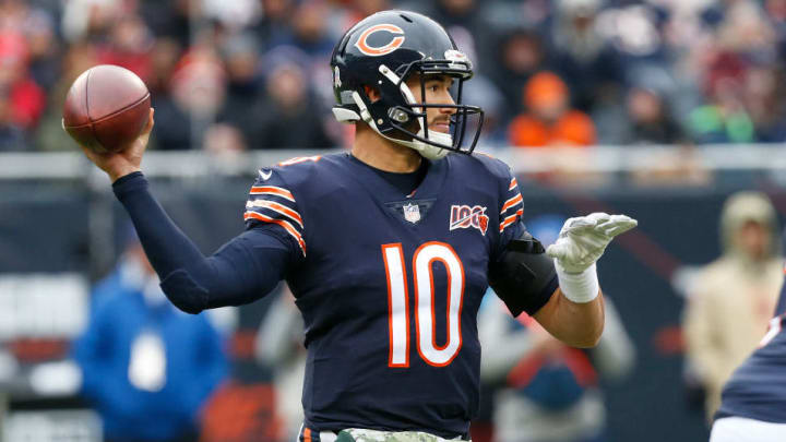 CHICAGO, ILLINOIS - NOVEMBER 10: Mitchell Trubisky #10 of the Chicago Bears plays  during the game  against the Detroit Lions at Soldier Field on November 10, 2019 in Chicago, Illinois. (Photo by Nuccio DiNuzzo/Getty Images)