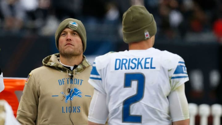 CHICAGO, ILLINOIS - NOVEMBER 10:  Matthew Stafford #9 of the Detroit Lions and Jeff Driskel #2 talk near the bench during the game against the Chicago Bears at Soldier Field on November 10, 2019 in Chicago, Illinois. (Photo by Nuccio DiNuzzo/Getty Images)