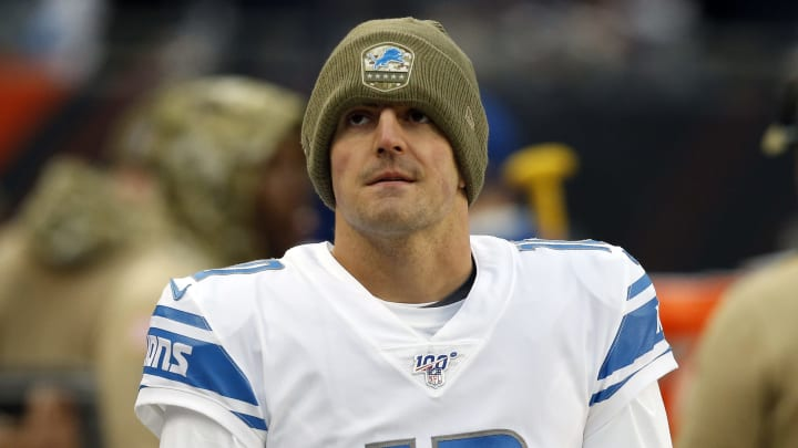 CHICAGO, ILLINOIS - NOVEMBER 10:  David Blough #10 of the Detroit Lions stands near the bench during the game  against the Chicago Bears  at Soldier Field on November 10, 2019 in Chicago, Illinois. (Photo by Nuccio DiNuzzo/Getty Images)