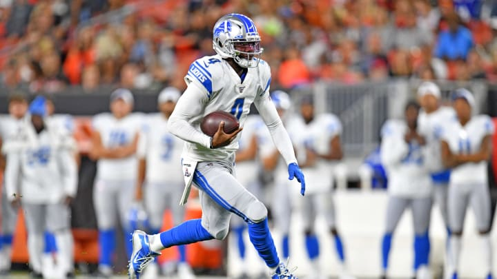 CLEVELAND, OHIO - AUGUST 29: Quarterback Josh Johnson #4 of the Detroit Lions runs during the second half of a preseason game against the Cleveland Browns at FirstEnergy Stadium on August 29, 2019 in Cleveland, Ohio. The Browns defeated the Lions 20-16. (Photo by Jason Miller/Getty Images)