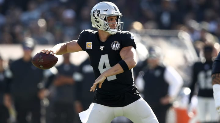 OAKLAND, CALIFORNIA - NOVEMBER 03:  Derek Carr #4 of the Oakland Raiders in action against the Detroit Lions at RingCentral Coliseum on November 03, 2019 in Oakland, California. (Photo by Ezra Shaw/Getty Images)