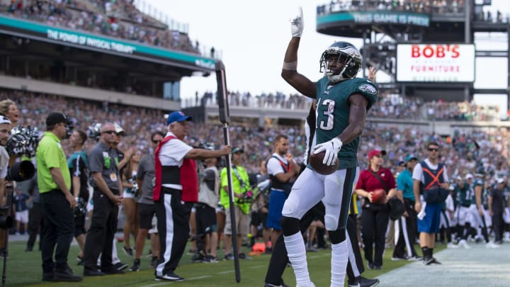 PHILADELPHIA, PA - SEPTEMBER 22: Nelson Agholor #13 of the Philadelphia Eagles reacts after scoring a touchdown in the fourth quarter against the Detroit Lions at Lincoln Financial Field on September 22, 2019 in Philadelphia, Pennsylvania. The Lions defeated the Eagles 27-24. (Photo by Mitchell Leff/Getty Images)