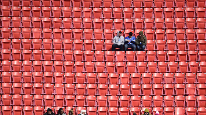LANDOVER, MD - NOVEMBER 24: Fans sit in the stands in the upper deck before a game between the Detroit Lions and Washington Redskins at FedExField on November 24, 2019 in Landover, Maryland. (Photo by Patrick McDermott/Getty Images)