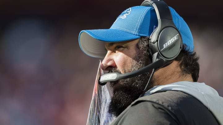 LANDOVER, MD - NOVEMBER 24: Head coach Matt Patricia of the Detroit Lions looks on during the first half of the game against the Washington Redskins at FedExField on November 24, 2019 in Landover, Maryland. (Photo by Scott Taetsch/Getty Images)