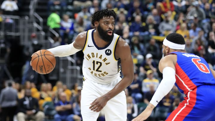 INDIANAPOLIS, INDIANA - APRIL 01:   Tyreke Evans #12 of the Indiana Pacers dribbles the ball against the Detroit Pistons at Bankers Life Fieldhouse on April 01, 2019 in Indianapolis, Indiana. NOTE TO USER: User expressly acknowledges and agrees that, by downloading and or using this photograph, User is consenting to the terms and conditions of the Getty Images License Agreement.  (Photo by Andy Lyons/Getty Images)