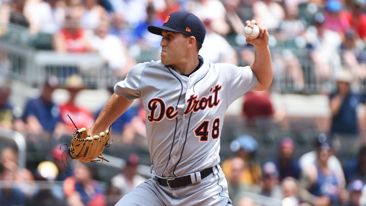 ATLANTA, GEORGIA - JUNE 02: Matthew Boyd #48 of the Detroit Tigers pitche sin the first inning against the Atlanta Braves at SunTrust Park on June 02, 2019 in Atlanta, Georgia. (Photo by Logan Riely/Getty Images)