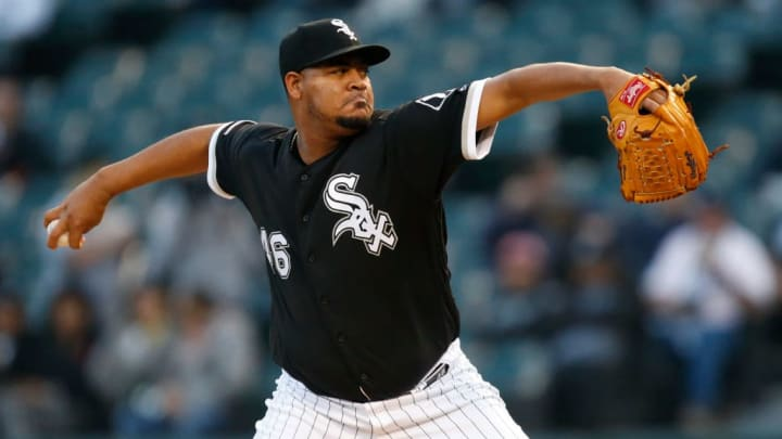 CHICAGO, ILLINOIS - SEPTEMBER 28: Ivan Nova #46 of the Chicago White Sox  pitches in the first inning during the game against the Detroit Tigers at Guaranteed Rate Field on September 28, 2019 in Chicago, Illinois. (Photo by Nuccio DiNuzzo/Getty Images)
