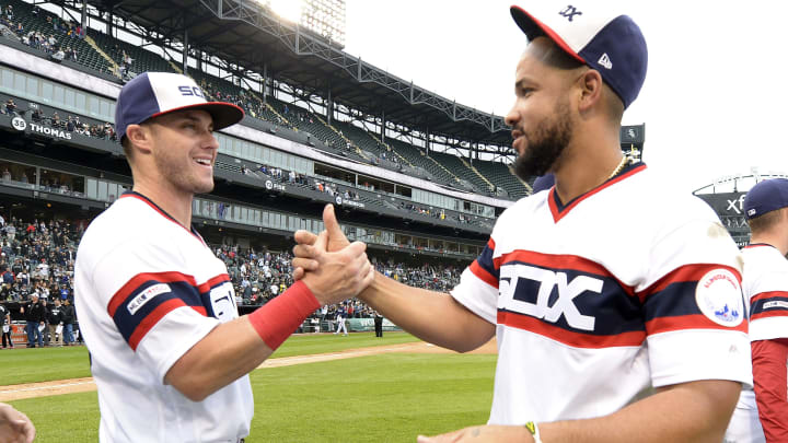 CHICAGO - SEPTEMBER 29:  Jose Abreu #79 greets James McCann #33 of the Chicago White Sox after the game against the Detroit Tigers on September 29, 2019 at Guaranteed Rate Field in Chicago, Illinois.  (Photo by Ron Vesely/MLB Photos via Getty Images)