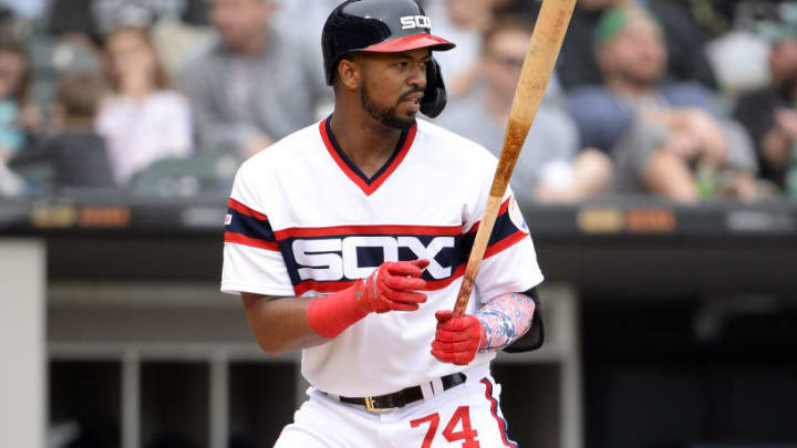 CHICAGO - SEPTEMBER 29:  Eloy Jimenez #74 of the Chicago White Sox bats against the Detroit Tigers on September 29, 2019 at Guaranteed Rate Field in Chicago, Illinois.  (Photo by Ron Vesely/MLB Photos via Getty Images)
