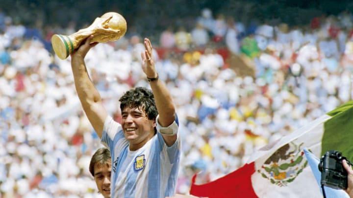 Maradona lifting the World Cup