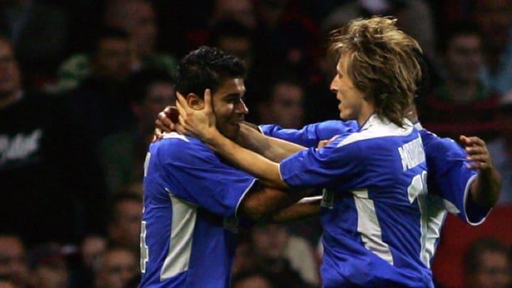 Luka Modric celebrando un gol con el Dinamo de Zagreb