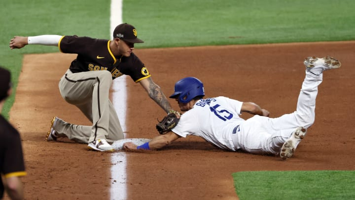 Manny Machado tags Austin Barnes out, Division Series - San Diego Padres v Los Angeles Dodgers - Game Two