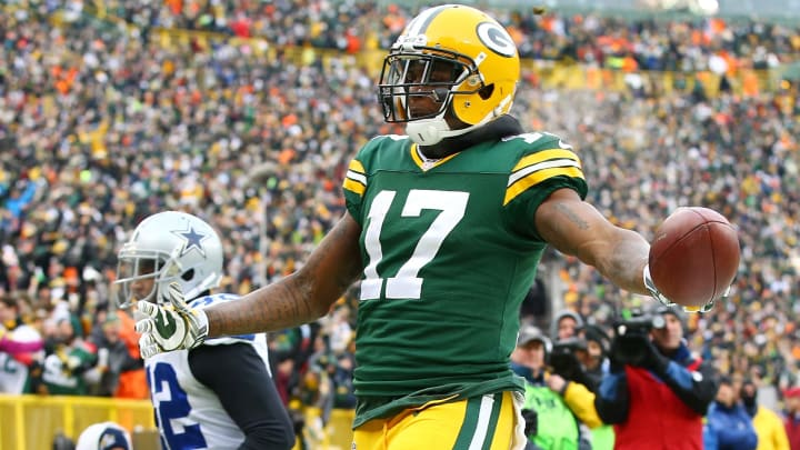 GREEN BAY, WI - JANUARY 11:   Davante Adams #17 of the Green Bay Packers reacts after scoring a touchdown in the third quarter against the Dallas Cowboys during the 2015 NFC Divisional Playoff game at Lambeau Field on January 11, 2015 in Green Bay, Wisconsin.  (Photo by Al Bello/Getty Images)