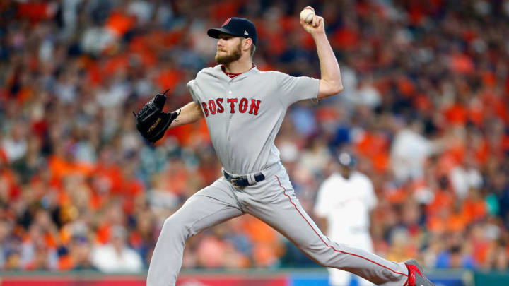 Chris Sale pitching in Houston during the postseason.