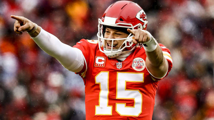 KANSAS CITY, MO - JANUARY 12: Patrick Mahomes #15 of the Kansas City Chiefs points to the sidelines in celebration after throwing a touchdown against the Kansas City Chiefs during the first quarter of the AFC Divisional Round playoff game at Arrowhead Stadium on January 12, 2019 in Kansas City, Missouri. (Photo by Jamie Squire/Getty Images)