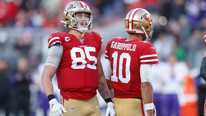 49ers players react to a call during the NFC Divisional Round against the Vikings.