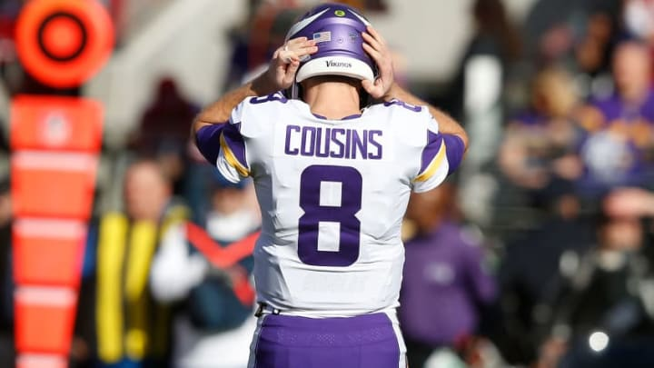 Kirk Cousins reacts to an incomplete pass in a game against the 49ers.