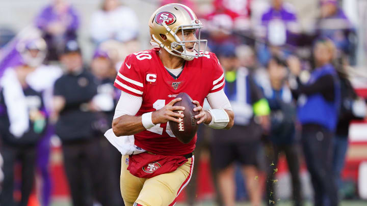 49ers quarterback Jimmy Garoppolo looks downfield vs. the Vikings in the NFC Divisional Round.