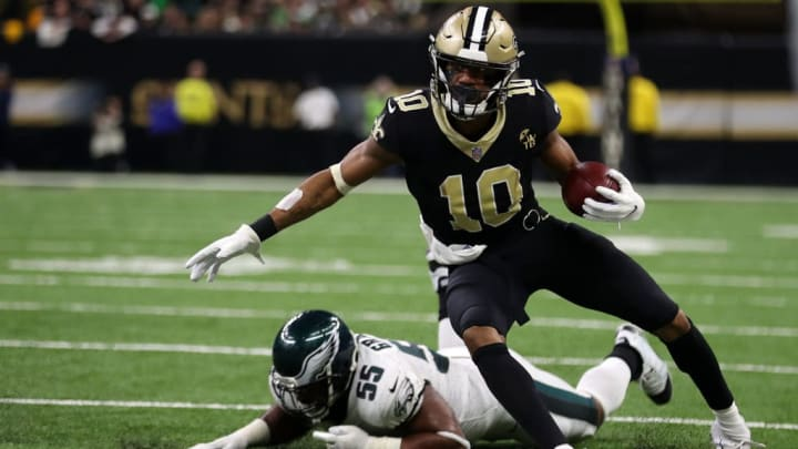 NEW ORLEANS, LOUISIANA - JANUARY 13: Tre'Quan Smith #10 of the New Orleans Saints  during the NFC Divisional Playoff at the Mercedes Benz Superdome on January 13, 2019 in New Orleans, Louisiana. (Photo by Chris Graythen/Getty Images)