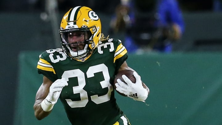 Green Bay Packers running back Aaron Jones running the ball against the Seattle Seahawks.