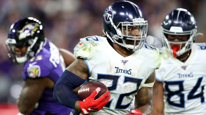 Derrick Henry rushes the ball in the 2019 AFC Divisional Round game against the Baltimore Ravens.