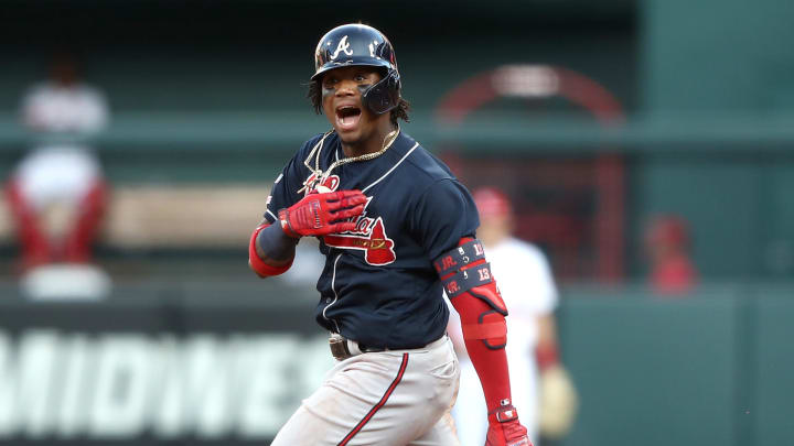 ST LOUIS, MISSOURI - OCTOBER 07:  Ronald Acuna Jr. #13 of the Atlanta Braves celebrates after hitting a double against the St. Louis Cardinals during the ninth inning in game four of the National League Division Series at Busch Stadium on October 07, 2019 in St Louis, Missouri. (Photo by Jamie Squire/Getty Images)