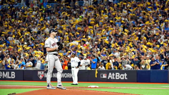 ST PETERSBURG, FLORIDA - OCTOBER 08:  Justin Verlander #35 of the Houston Astros reacts after allowing a home run to Tommy Pham (not pictured) of the Tampa Bay Rays during the first inning in game four of the American League Division Series at Tropicana Field on October 08, 2019 in St Petersburg, Florida. (Photo by Julio Aguilar/Getty Images)
