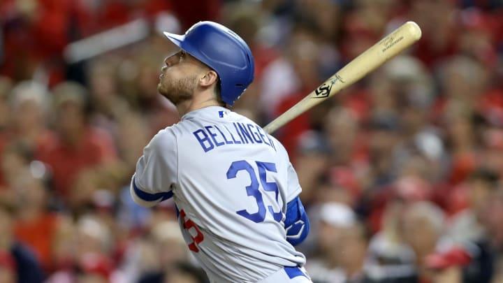Cody Bellinger en el Juego 3 de la Serie de División entre Dodgers y Nacionales en la temporada 2019