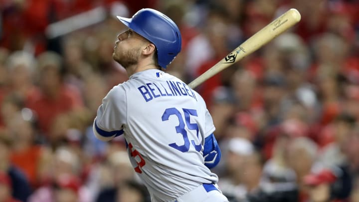 WASHINGTON, DC - OCTOBER 06: Cody Bellinger #35 of the Los Angeles Dodgers flies out for the third out of the third inning of Game 3 of the NLDS against the Washington Nationals at Nationals Park on October 06, 2019 in Washington, DC. (Photo by Rob Carr/Getty Images)