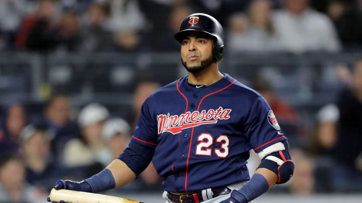 NEW YORK, NEW YORK - OCTOBER 04: Nelson Cruz #23 of the Minnesota Twins reacts after striking out against the New York Yankees during the seventh inning in game one of the American League Division Series at Yankee Stadium on October 04, 2019 in New York City. (Photo by Elsa/Getty Images)
