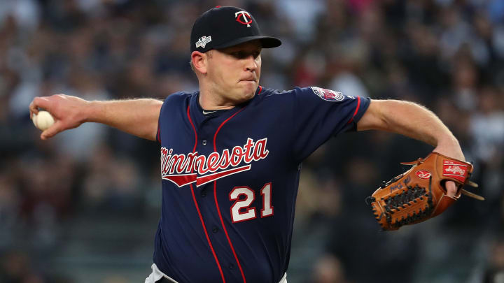 NEW YORK, NEW YORK - OCTOBER 05: Tyler Duffey #21 of the Minnesota Twins throws a pitch to the New York Yankees in the third inning in game two of the American League Division Series at Yankee Stadium on October 05, 2019 in New York City. (Photo by Al Bello/Getty Images)