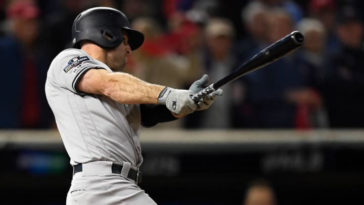MINNEAPOLIS, MINNESOTA - OCTOBER 07: Brett Gardner #11 of the New York Yankees hits an RBI single against the Minnesota Twins in the third inning in game three of the American League Division Series at Target Field on October 07, 2019 in Minneapolis, Minnesota. (Photo by Hannah Foslien/Getty Images)