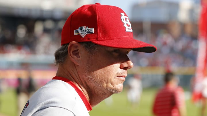 ATLANTA, GEORGIA - OCTOBER 09:  Mike Shildt #8 of the St. Louis Cardinals looks on prior to game five of the National League Division Series against the Atlanta Braves at SunTrust Park on October 09, 2019 in Atlanta, Georgia. (Photo by Kevin C. Cox/Getty Images)