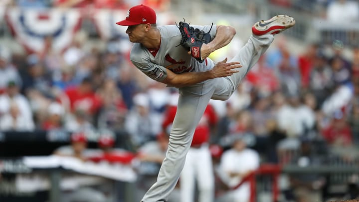 ATLANTA, GEORGIA - OCTOBER 04: Jack Flaherty #22 of the St. Louis Cardinals throws a pitch in the sixth inning in game two of the National League Division Series at SunTrust Park on October 04, 2019 in Atlanta, Georgia. (Photo by Todd Kirkland/Getty Images)